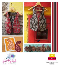 """#TCTSPOTLIGHT This weeks featured label is Just My Luck by A&M. A brand that fuses Indian fabrics and prints like Ikats, Kalamkaris, Bandhanis with western silhouettes, to give you garments that are """"Very Desi and Very Contemporary""""!  #TCT loves their use of complementing colour palette and intricate #KalamkariPrint on this #ReversibleVest .   SIGN UP WITH #TheColouredTrunk TO GET AN EXCLUSIVE 20% OFF!!"""