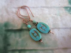 Turquoise Blue Green Czech Picasso Dotted Oval Glass Copper Wire Earrings $5