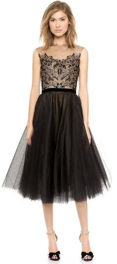 Reem Acra Embroidered Illusion Cap Sleeve Dress  Black in Black