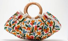 krewel work bag handstiched by a working women's co-op in Kashmire Wooden Handle Bag, Embroidery Bags, Boho Bags, Fabric Bags, Day Bag, Mode Vintage, Cloth Bags, Handmade Bags, Purses And Handbags