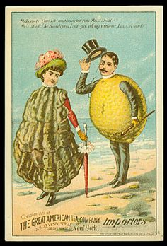 'Miss Shell & Mr Lemon' antique oyster trade card for the Great American Tea Company. via trade cards