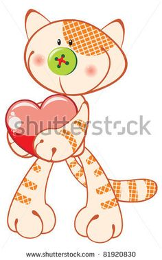stock vector : Cute kitten with heart. Vector illustration