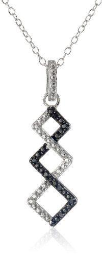 """Sterling Silver Black Diamond Zig Zag Pendant Necklace, 18"""", http://www.amazon.com/dp/B009YEEB6W/ref=cm_sw_r_pi_awdm_xEogvb1GEAVY2"""