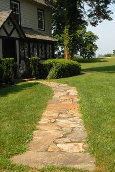 multi-stone colored front door path