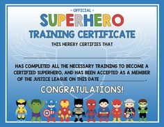 Superhero training certificate – 2 versions blue AND gray – digital / printable DIY - Modern Superhero Academy, Superhero Kids, Superhero Birthday Party, Birthday Party Themes, Superhero Preschool, 5th Birthday, Super Hero Training, School Donations, Training Certificate