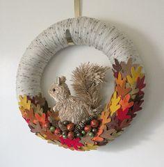 Autumn Wreath, Fall Wreath, Squirrel Wreath, Yarn and Felt Wreath, 14 inch size. via Etsy.