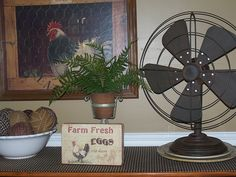 Old ragballs...tin and rusty fan....