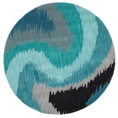 Tufted Casual Blue Round Rug 7'9 x 7'9 | Overstock.com Shopping - Great Deals on Round/Oval/Square