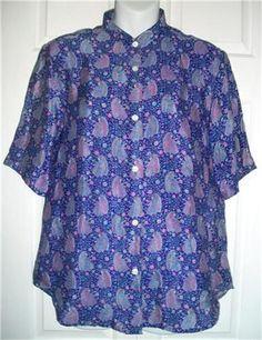 MAHARAJA'S Shirt 10 Silk Short Sleeve Button Front Shirt Top Blouse 40 Purples #Maharajas #Blouse