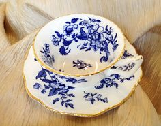 Coalport Vintage Tea Cup and Saucer Blue and White Made in England