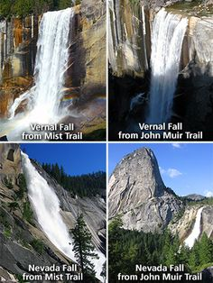 Vernal Fall an Nevada Fall trails - moderate to strenuous hikes in Yosemite ---- Views of Vernal Fall and Nevada Fall from each trail