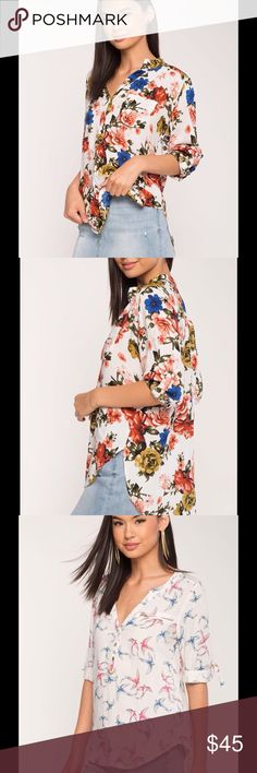 🌹❤️ Casual Blouse ❤️🌹❗️❗️❗️ 🎀 2 Casual Blouse One Featuring A Gorgeous Floral Print, And The Other An All Over Bird Print. Split Neck With Partial Button Down Closure And Short Roll-Tab Sleeves, 🎀❗️❗️❗️ Tops Tees - Short Sleeve
