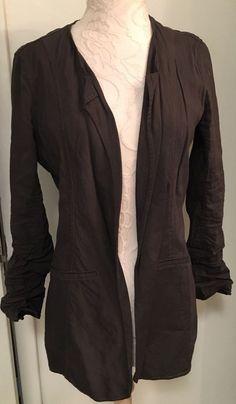 EILEEN FISHER Size XS  Jacket linen blend Dark Gray Open Style #EileenFisher…