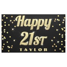 Shop Happy Gold Bling Typography Confetti Black Banner created by GroovyGraphics. Black Banner, Outdoor Banners, 15th Birthday, Word Out, Happy Birthday Banners, Outdoor Events, Party Signs, Confetti, Birthdays