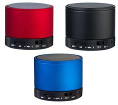 Bluetooth speakers in red, black and blue