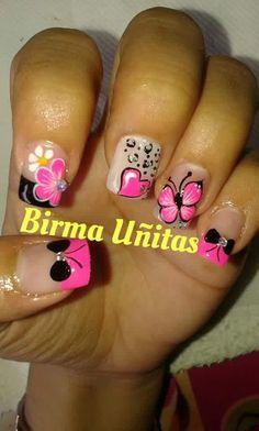 Animal Nail Designs, Nail Art Designs, Fabulous Nails, Flower Nails, Pedicure, Acrylic Nails, Nail Polish, Make Up, Nail Stuff