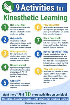 FUN activities for kinesthetic ways to practice reading and spelling! Here are kinesthetic learning activities you can use right away! Incorporate hands-on activities into your child's education and improve long-term learning. Learning Styles Activities, Kinesthetic Learning Style, Learning Tips, Learning Theory, Teaching Strategies, Teaching Tools, Teaching Resources, Fun Activities, Critical Thinking Activities