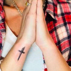 Unique Cross Tattoos, Simple Cross Tattoo, Simple Wrist Tattoos, Cross Tattoos For Women, Small Hand Tattoos, Bible Tattoos, Spine Tattoos, Forearm Tattoo Men, Body Art Tattoos