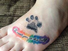 Rainbow bridge memorial paw print tattoo