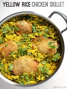 Yellow Rice Chicken Skillet - BudgetBytes.com #chicken #rice #skillet #peas