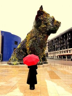 """Bilbao, Spain I love """" the puppy"""" by jeff koons made of poppies and so very different to his other work Cairn Terrier, Scottish Terrier, Terriers, Bilbao, Vincent Spano, Europe Holidays, Red Umbrella, Dog Sculpture, Ends Of The Earth"""