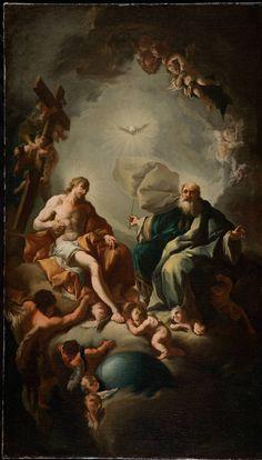 Holy Trinity / La Santísima Trinidad // // Paul Troger // David Owsley Museum of Art at Ball State Greek Paintings, Classic Paintings, Catholic Art, Religious Art, Rennaissance Art, Brust Tattoo, Baroque Art, Biblical Art, Renaissance Paintings