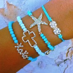 ? ? #bracelets • #star • #blue • #xoxo • #cross • #bow • #girls • #jewelery •. #summer • #spring • #style • #fashion • #trend • #accessories •