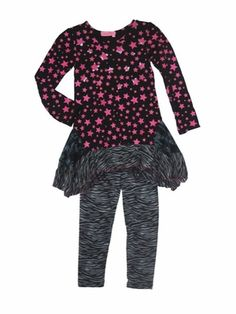 "Haven Girl ""School of Rock"" Sassy Knit Tunic With Precious Hot Pink StarsSizes 4 - 14 - click to enlarge"