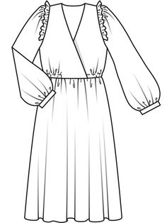 11/09 112 B Technische Zeichnung Dress Design Drawing, Dress Design Sketches, Fashion Design Sketchbook, Fashion Design Portfolio, Fashion Sketches, Casual Dress Outfits, Casual Summer Dresses, Mode Outfits, Fashion Figure Drawing