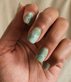 Jade marble nails done by (My real nails with gel polish) Ongles en marbre Marble Nail Designs, Marble Nail Art, Colorful Nail Designs, Gel Polish Designs, Simple Designs, Minimalist Nails, Hair And Nails, My Nails, Glitter Nails