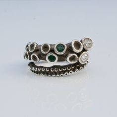 Beautiful octopus ring sterling silver tentacle rings open shank design by Zulasurfing with 2 diamonds and 2 emeralds Mother's Day Gift