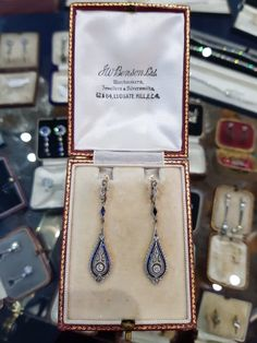 Edwardian Period Earring – Delphi Antiques (Dublin) Edwardian Jewelry, Vintage Jewelry, Sapphire Stone, Diamond Cuts, Period, Antiques, Dublin, Lace, Earrings
