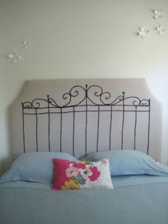 Cloth-covered headboard with painted wrought-iron style design Painted Headboard, Wrought Iron Headboard, Embroidered Bedding, Headboard Designs, Fabric Headboard, Diy Headboards, Living Room Upholstery, Home Decor, Upholstered Headboard