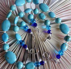 Turquoise Semi Precious Jewelry Set - Turquoise Beaded Necklace Bracelet Earring…