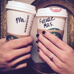 Mr. and Future Mrs. this is a great Save the Date idea for the typical coffee lovers Not only do you get to show off your love for coffee and eachother but you'll get to show off your love for the gorgeous engagement ring he got you. #arthursjewelers