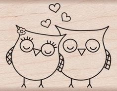 Shop for Hero Arts Heart Owls Wood Mounted Rubber Stamp . Get free delivery On EVERYTHING* Overstock - Your Online Scrapbooking Shop! Tampon Scrapbooking, Owl Crafts, Paper Crafts, Hero Arts, Easy Drawings, Rock Art, Doodle Art, Painted Rocks, Embroidery Patterns