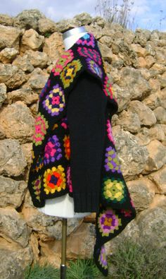 Granny Square Crochet Blanket Jacket Upcycled by NuLifeClothing, $140.00