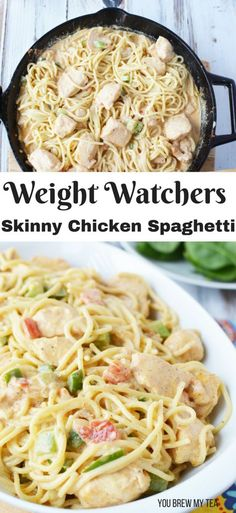 abendessen Skinny Chicken Spaghetti Our delicious and easy Skinny Chicken Spaghetti Recipe is a Weight Watchers FreeStyle dinner recipe you'll love to make! This easy chicken dinner is ready in under 30 minutes! Ww Recipes, Skinny Recipes, Healthy Recipes, Skinny Chicken Recipes, Recipe Chicken, Recipies, Heathly Dinner Recipes, Low Fat Dinner Recipes, Low Far Recipes