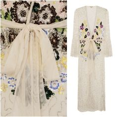 Beach Party Embellished Kimono Cover Up Beach Jacket Maxi Dress Summer UK 10 12 Floral Duster, Frock And Frill, Duster Jacket, Boho Wedding Dress, Coat Dress, Vintage Dresses, Beachwear, Kimono, Prom Dresses
