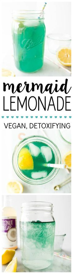 Mermaid Lemonade. Vegan, Refreshing, Detoxifying and Naturally Energizing. Made with spirulina, lemon and coconut vinegar to replace your morning lemon water! #mermaid #lemonade