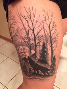 My fully healed wolf forest tattoo