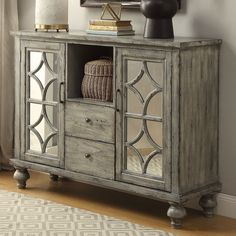 Bungalow Rose Diondre 2 Door and 2 Drawer Console Table Countertop Materials, Wood Countertops, Grey Furniture, Furniture Handles, Kitchen Furniture, Foyer Furniture, Furniture Dolly, Furniture Refinishing, Furniture Stores