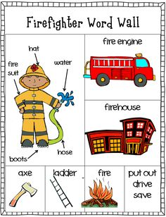 FREE firefighter writing center. Word wall and stationary. Part of a community helpers unit.
