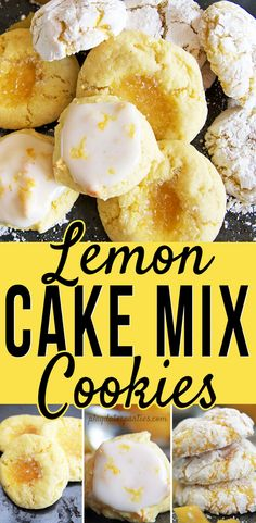 These easy lemon cake mix cookies are soft and delicious and you get to decide how tart you want them! Choose between sugar coated cookies thumbprint cookies or with a lemon glaze. The post Lemon Cake Mix Cookies Cake Box Cookies, Lemon Cake Mix Cookies, Cookie Cake Pie, Cake Mix Cookie Recipes, Lemon Cake Mixes, Holiday Cookie Recipes, Best Cookie Recipes, Yummy Cookies, Lemon Desserts