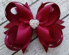 Red Boutique Hair Bow Girls Hair Bow Toddler by GhinesCreations