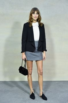 Alexa Chung attends the Chanel show as part of the Paris Fashion Week Womenswear Spring/Summer 2015 on September 30, 2014 in Paris, France.