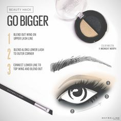 Go bigger! Really make your eyes pop by connecting your shadow from the center of your bottom lid to the outer corners in an almond shape. #HowWeDuo #BeautyHacks