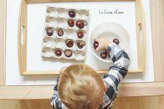 Activité manuelle autour de l'automne avec des marrons. Motricité fine - Montessori  Enfant - Bébé  1-2 ans