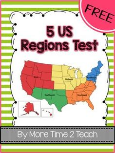 regions of the United States, maps, printables, quiz, test, etc ...