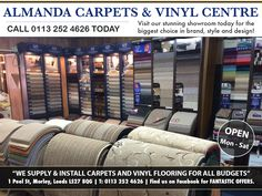 Almanda Carpets & Vinyl Centre in Morley, Leeds operate with 3 generations of family members. We supply and install quality carpets and vinyl flooring for all budgets. We have a full range of quality Carpets expertly fitted and fully guaranteed. Choose from our range with confidence following other customers who've received a first class service.  http://areyouinbusiness.co.uk/item/almanda-carpets-vinyl-centre/
